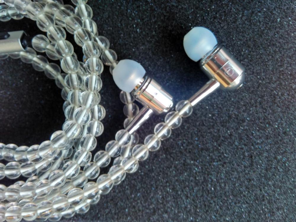 diy earphone with mic tranparent bead
