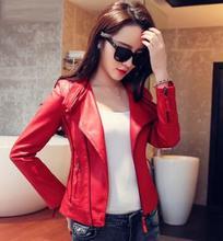 Leather Jacket Women 2016 Plus Size 5XL 4XL Leather Coat Female Faux Sheepskin Motorcycle Slim Outerwear Black Red(China (Mainland))