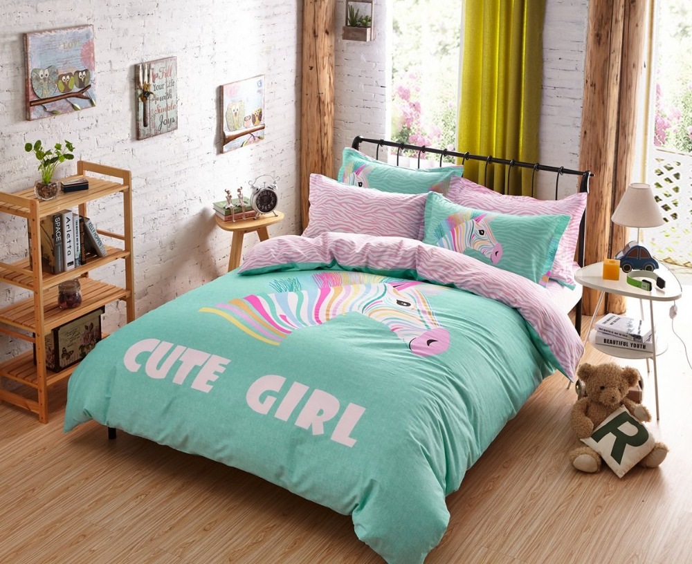 sets bed sheet cute girls 3 4 pcs bedding set zebra duvet cover set