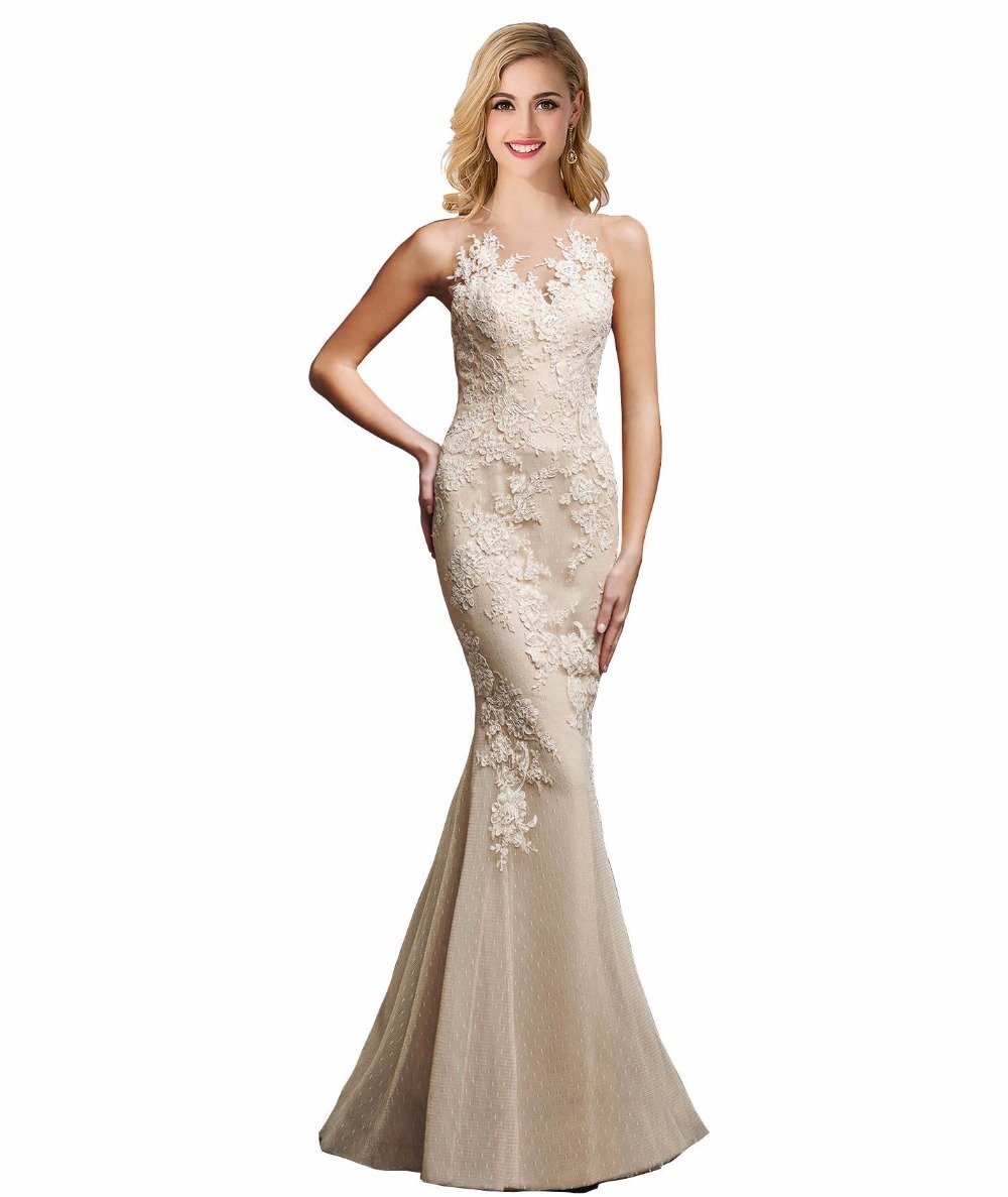 Popular  Women Formal Dresses Floor Length Lace Long Backless Evening Dress