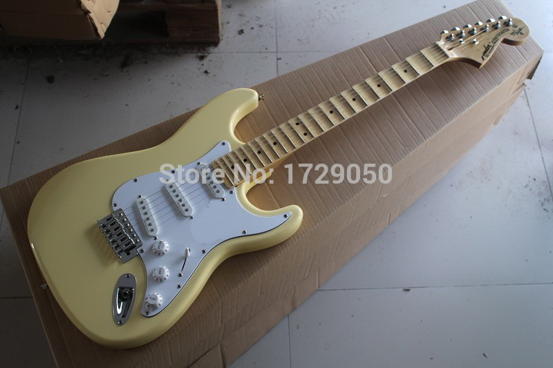 Free shopping factory custom New Arrival ST scalloped neck Big headstock electric guitar Cream 1110(China (Mainland))
