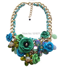 Hot Sale Brand Fashion Crystal Flower Necklaces Pendants Chunky Big Choker Necklace Vintage Collar Statement Jewelry