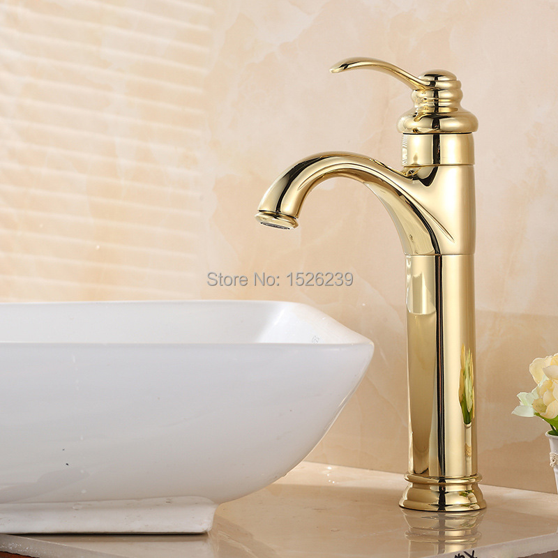 brass gold plated basin faucet bathroom faucet single hole bathroom