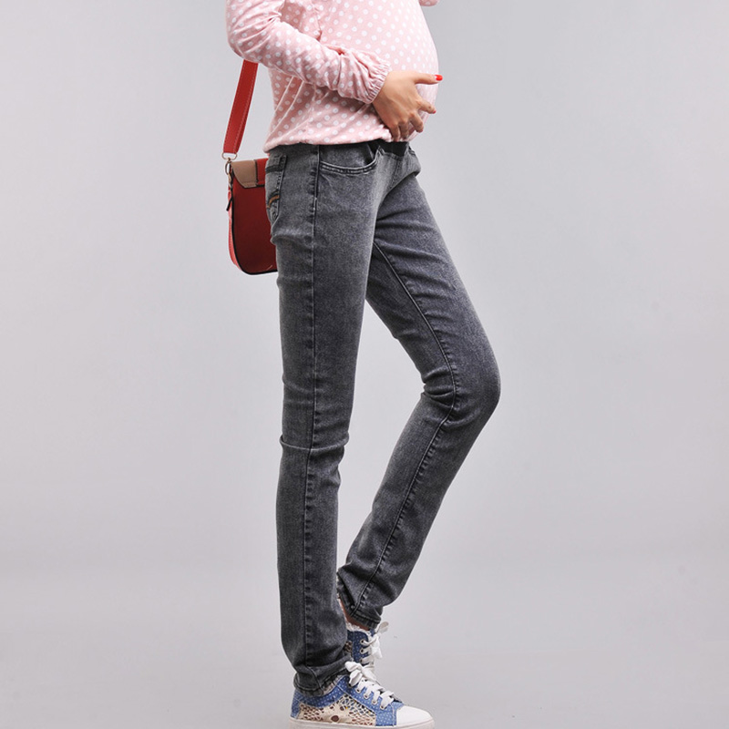 Spring Autumn Casual font b Maternity b font Pants Slim Jeans High Waist Prop Belly Denim