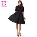 black red women clothing Casual Style 2016 Female button Dresses Plain High Street Fashionable half Sleeve