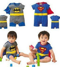 EMS DHL Free shipping blue grey super boy baby summer cotton rompers one piece batman supperman overall baby grow summer outfit