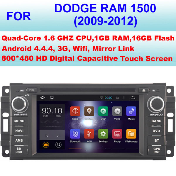 Quad Core Android 4.4.4 Car DVD GPS For Dodge Ram 1500 Car DVD Player (2009-2012),Support WiFi 3G,Mirror Link,1080P HD Video(China (Mainland))
