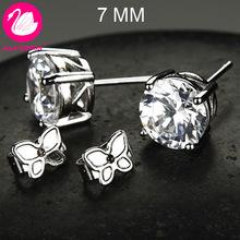 Free Shipping! Platinum Plated & 4 Prongs 7MM 1.6 CT Round Brilliant Cut Grade AAA Cubic Zircon Diamond Stud Earring (0582)(China (Mainland))