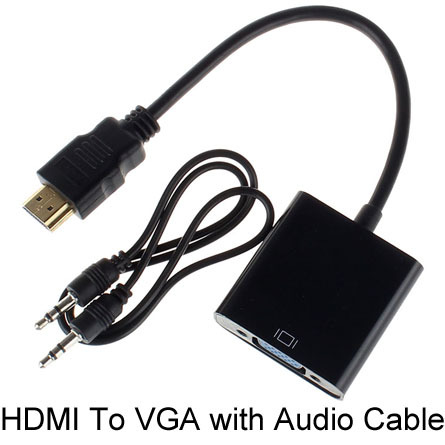 HDMI To VGA Cable Adapter with Audio Cable Female Built-in Chipset 1080p Video Converter For Xbox 360 PS3 PS4 Free Shipping(China (Mainland))