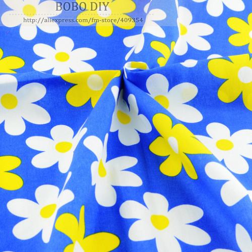 1 meter x 145 cm wide blue daisy Printed cotton poplin fabric girls fashion design clothing sewing material quilting patchwork(China (Mainland))
