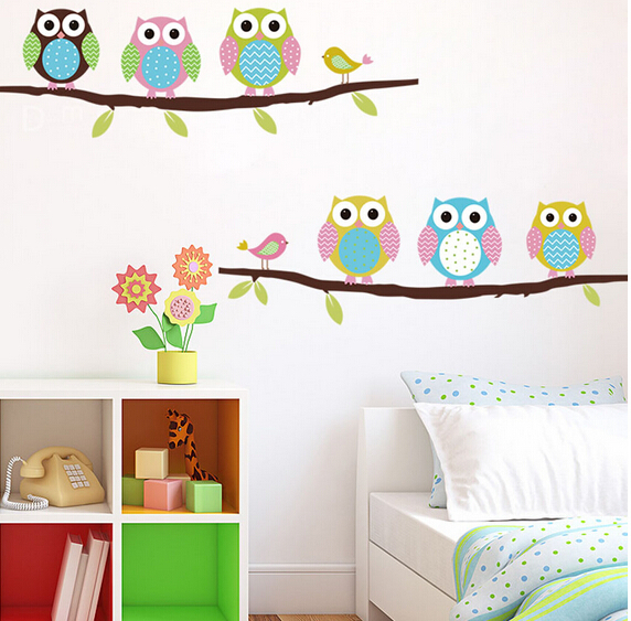 Owls on tree wall stickers for kids rooms decorative adesivo de parede pvc wall decal New Arrival ZY1020(China (Mainland))