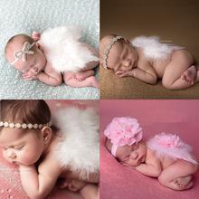 New Newborn Baby Angle Wing with Headband Photography Props Fashion Girls Hairband with Rhinestone Flower Hair Accessory(China (Mainland))