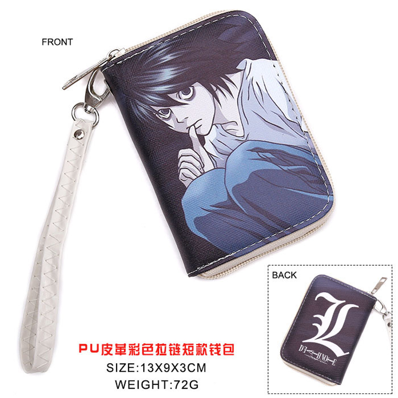 Colorful Japanese Anime Death Note L.Lawliet L Mark PU Short Wallet Purse WIth Zipper(China (Mainland))
