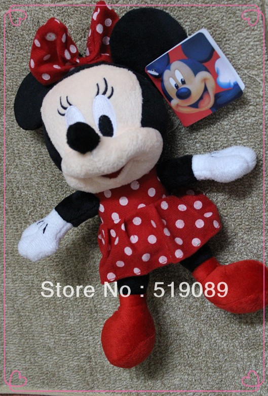 Free Shipping 1pcs Minnie Mouse Plush Animal Toys,28cm Minnie Plush Dolls For Christmas Gifts,kids gifts(China (Mainland))