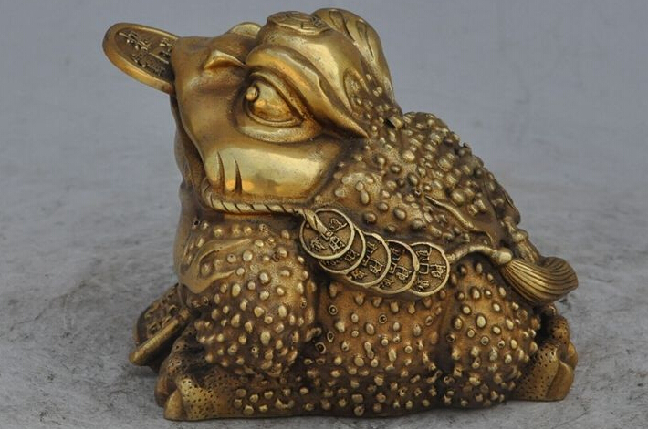 """zhanglei36090<<<>>5"""" chinese fengshui brass wealth money coin golden toad bufo frog lucky statue(China (Mainland))"""