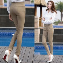 2016 Spring Summer Women Pants Victoria Fashion Button pencil pants Tight full pants for women brand OL Career Harem trousers(China (Mainland))