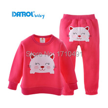 2015 spring/autumn new 1-5T girl's&boy's Hoodies&pants set for baby, cartoon print leisure children clothes set outdoor(China (Mainland))