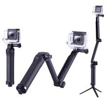 DSDACTION Складной трехходовой Монопод Selfie придерживайтесь Крепление Камеры Сцепление Плечо Расширения Штатив Стенд для Gopro Hero 4 3 3 + SJ5000(China (Mainland))