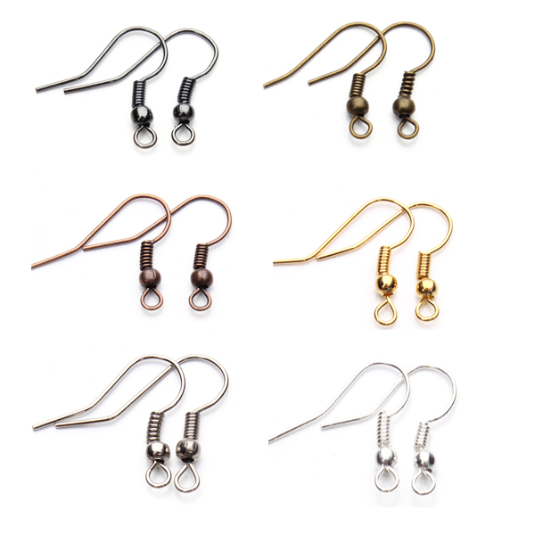 Free Shipping 8 Colors 200pcs/lot Fashion Iron Ear Hook Clasp With Bead Charms Earring Wires Fit Jewelry DIY Findings F7(China (Mainland))