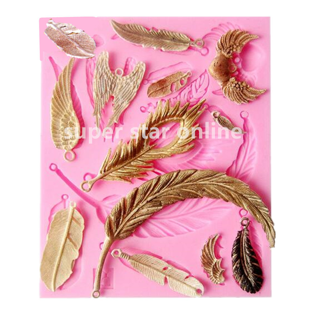 Vintage Feather Collections Silicone Mould Jewelry Pendant Cupcake Mold Fondant Molds Cake Decorating Tools Confeitaria(China (Mainland))