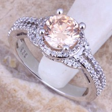 Champagne Morganite White Topaz 925 Sterling Silver Ring For Women Size 5 / 6 / 7 / 7.5 / 9 / 9.5 / 10 Free Gift Bag S0446