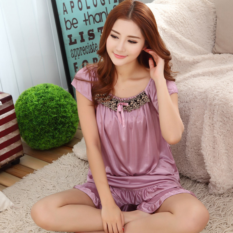 2015 font b Hot b font new summer style ladies silk pajamas suits casual wear pajamas