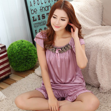 2015 Hot new summer style ladies silk pajamas suits, casual wear pajamas women, 6 bell colors, free home delivery