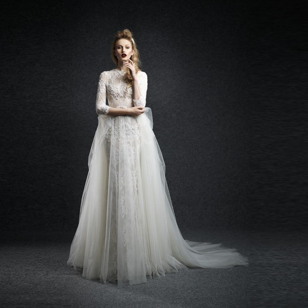 2015 Latest Sexy Perspective Wedding Decals Elegant Hight Neck Bridal Dress Show Church Beach
