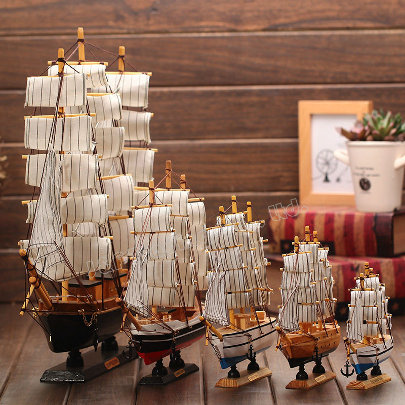 Mediterranean Style Wooden Sailing Ship Handmade Carved Sailing Boat Model Kits Home Office Nautical Decoration Crafts Gift