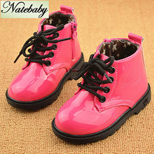 2016 Winter new design high grade children martin boots solid color patent leather baby shoes NG0525(China (Mainland))