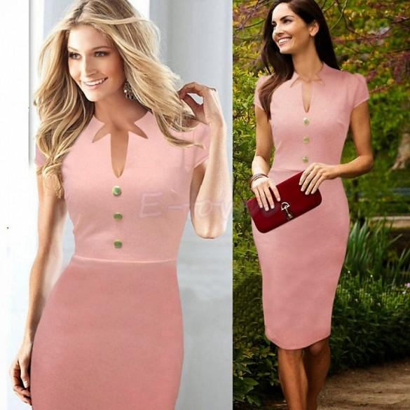 2014 Wholesale Women Shift Pencil Dress Formal Work Business ...