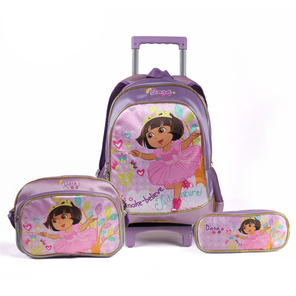 2015 Lovely School Rolling Trolley Bags Dora Wheel Bag Children Backpack Football Suitcase Pencil Case 11 Styles - Chunky Beads store