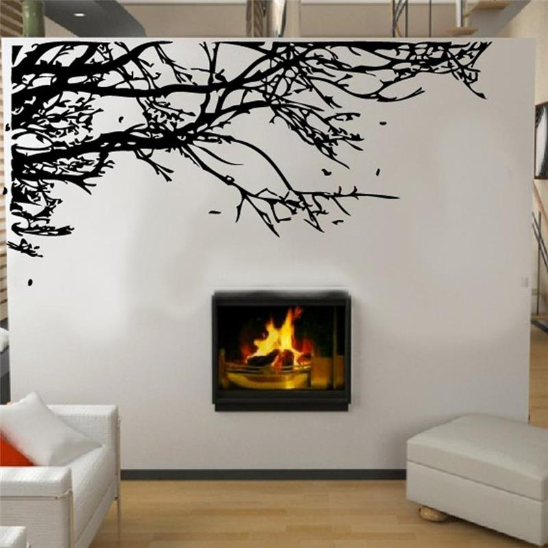 Hot sell large size black tree branch wall stickers living for Decoration murale 1 wall