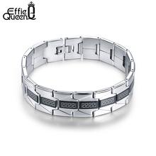 Buy Effie Queen Fashion Stainless Steel Bracelet Men Black Color Men's Chian Link Bracelet 2017 Hot Sale Jewelry IB10 for $5.59 in AliExpress store