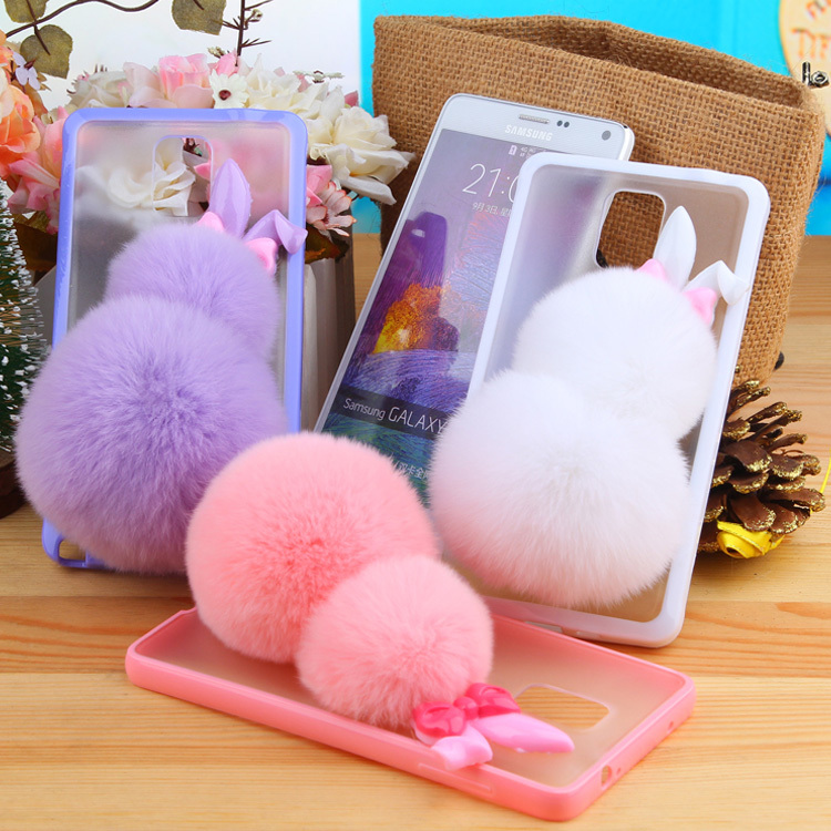 2015 Fashion Fluffy Rex Rabbit Fur Hairs Balls Phone Case Samsung Galaxy Note 4 cases cell phones Protecter Fuzzy Cover