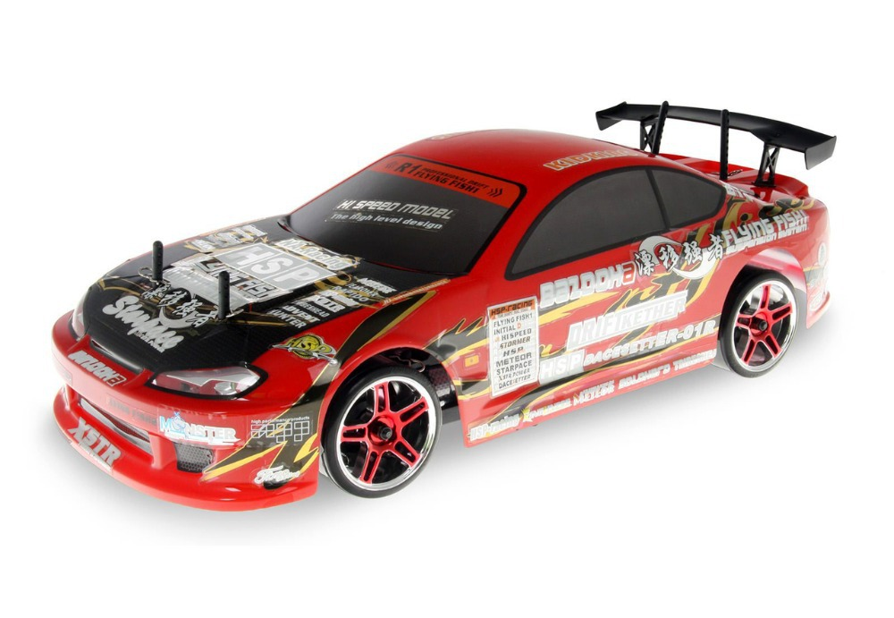 HSP 94123 Yellow 2.4Ghz Flying Fish Electric on Road 1/10 Scale RC Car Eletric RC Drift Cars remote control car with LED light(China (Mainland))