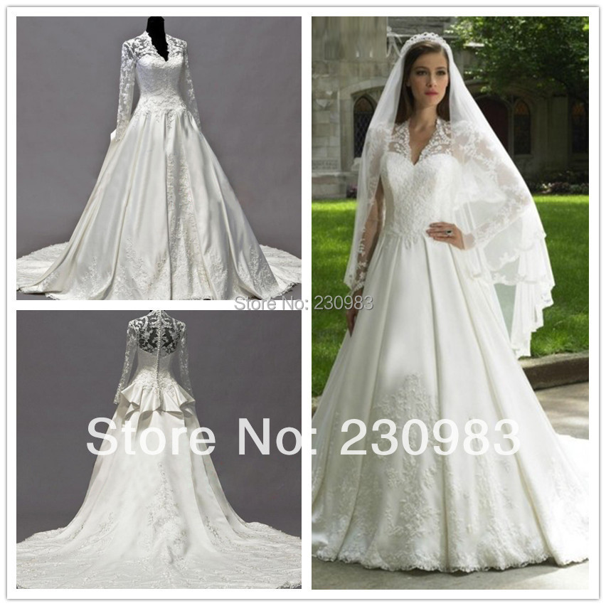 Buy amazing sweetheart shoulder lace applique sequined for Kate middleton wedding dress where to buy
