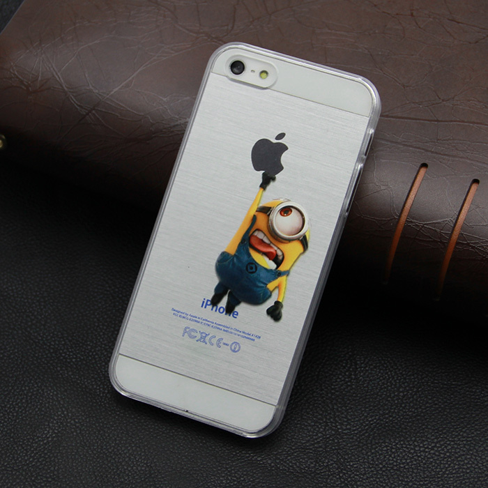 For iphone 5 5s cases Transparent cartoon character Minion hard Hand grasp the logo cell phone cases covers(China (Mainland))