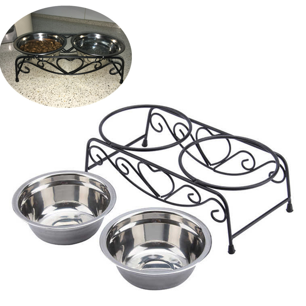 Double Stainless Steel Dog Bowls With Stand Feeder Travel Cat Anti Slip Food Water Bowls Eating Dish(China (Mainland))