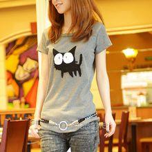 2015 Summer Short Sleeve Women T Shirt Cute Cartoon Cat Print O Neck Elegant T Shirt
