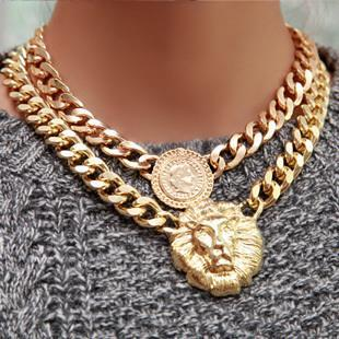 55 shiny Gold plated Lion head chain Queen Necklace Chunky Choker Chain Pendant Statement! choker necklace bib gem pendant(China (Mainland))