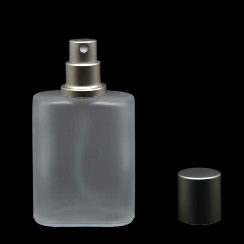 30ml 1pcs/lot Silver Gray Cap Flat Style Frosted Semi Clear Glass Spray Perfume Bottle Glass Automizer(China (Mainland))