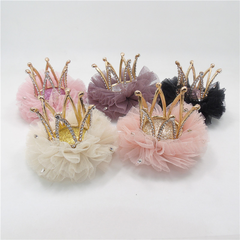 5pcs/lot Luxury High Quality Metal Crown Hair Clip with Clear Rhinestone Tulle Pink Cream Crystal Tiara Barrette Birthday Gift(China (Mainland))