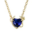 Classic Blue Rhinestone Heart Of The Demon Pendant Necklaces For Women Fashion Jewelry For Gift