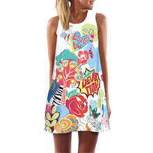 Повседневное летнее платье для женщин с цветочным принтом без рукавов Мини платье сексуальное Vestidos De Festa пляжное платье для женщин женские ...(China)