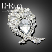 60pcs/lot Clear large crystal silver plated brooches