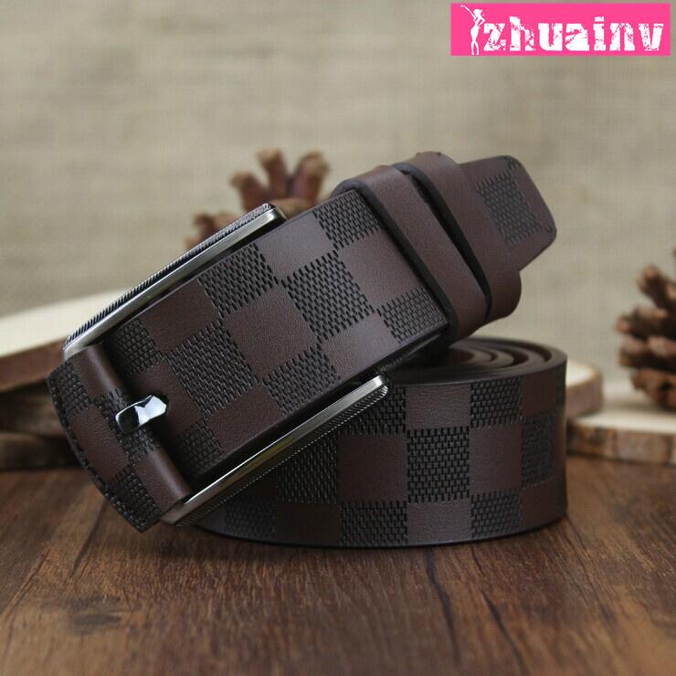 2015 new 100 high quality men s leather belt men s plaid casual fashion belt luxury