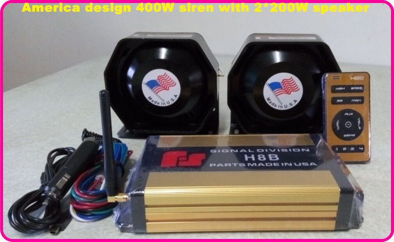 America design Federal-signal 400W wireless police/ambulance/fire siren alarm with remote+2*200W slim loudspeaker by fast ship(China (Mainland))