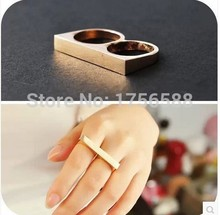 Hot selling costume jewelery gift vintage fashion texture super simple planar double finger ring cheap wholesale Free Shipping
