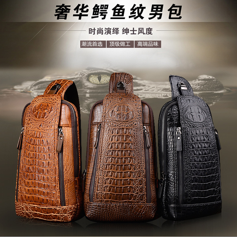 new men's chest bag leather crocodile chest bag Wholesale(China (Mainland))